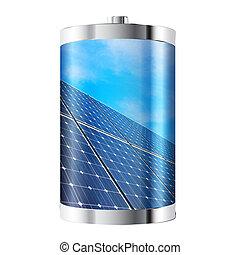 painel, bateria, solar
