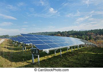 painel, campo, energia, solar, renovável
