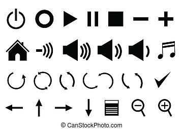 painel controle, ícones