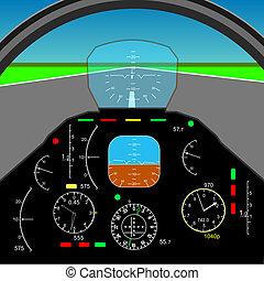 painel controle, em, um, avião, cabina piloto