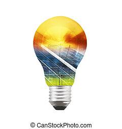 painel solar, bulbo