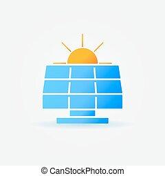 painel solar, com, sol, ícone