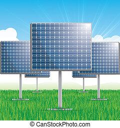 painel, solar, vetorial