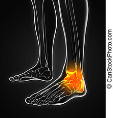 Painful Ankle Illustration isolated on white background. 3D...