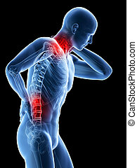 Painful back and neck - 3d rendered illustration of a man...