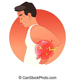 Painful back concept vector illustration with human torso. Pain circles on spine body part. Work overload or sports injury.