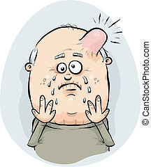 Painful Bump - A cartoon man with a painful, swollen bump on...