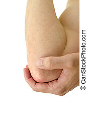 Painful elbow - Closeup of painful elbow. Isolated over...