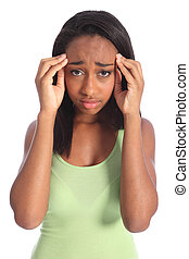 Painful headache for african american teen girl