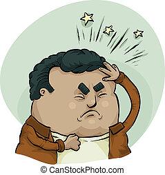 Painful Headache - A cartoon man suffering from a painful...