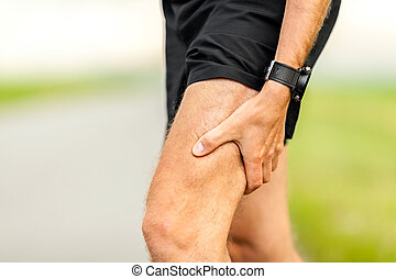 Painful injury, runners physical muscle pain - Runners leg...