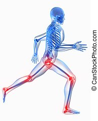 painful joints - 3d rendered illustration of a running ...