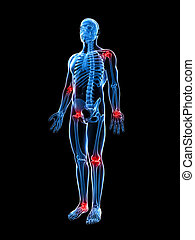 Painful joints - 3d rendered illustration of painful joints
