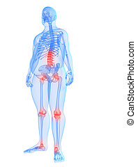 painful joints / backache - 3d rendered illustration o fa ...