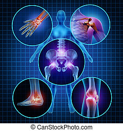 Painful Joints - Painful joints human anatomy concept with...