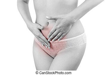 Painful menstruation. - Painful period. Beautiful female...