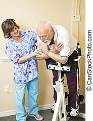Painful Rehabilitation - Senior man struggles to do physical...