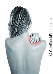 Painful shoulder - Woman holding her painful shoulder