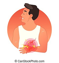 Painful stomach concept vector illustration with human torso...