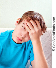 Teenager feel Headache