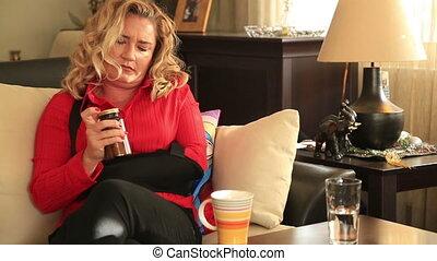 Painful woman having armache
