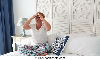Painful woman with strong headache