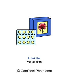 Painkiller pills sign. Analgetic icon. Flu and cold treatment. Medicine concept. Healthcare design. SImple pictogram. Editable vector illustration in cartoon flat style isolated on a white background.