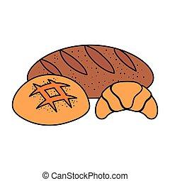 pains, ensemble, délicieux, icônes