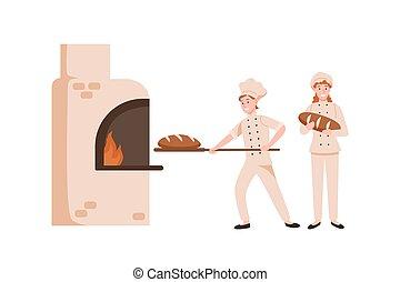 pains, uniforme, plat, dessin animé, savoureux, heureux,...