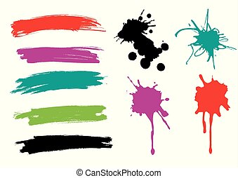 paint., はねる, ブラシの 打撃