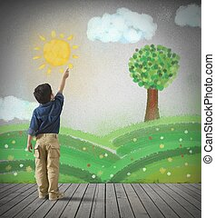 Paint a gray day - Young child draws a green panorama in a...