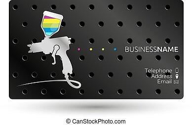 Paint a spray gun Business Card to work
