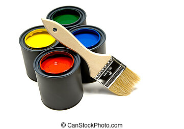 Paint and a brush - Four primary colored cans of paint with...