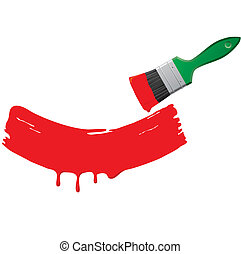 Paint and a green brush - Red paint and green brush on a ...