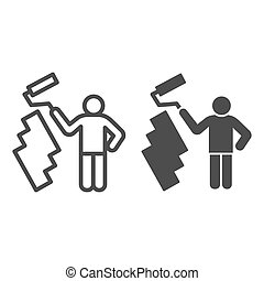 Paint and worker man line and solid icon. Painter with roller painting wall symbol, outline style pictogram on white background. Construction sign for mobile concept and web design. Vector graphics.