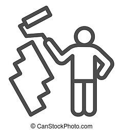Paint and worker man line icon. Painter with roller painting wall symbol, outline style pictogram on white background. Construction sign for mobile concept and web design. Vector graphics.