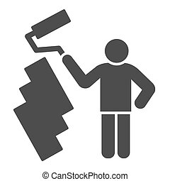 Paint and worker man solid icon. Painter with roller painting wall symbol, glyph style pictogram on white background. Construction sign for mobile concept and web design. Vector graphics.