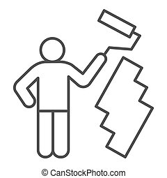 Paint and worker man thin line icon. Painter with roller painting wall symbol, outline style pictogram on white background. Construction sign for mobile concept and web design. Vector graphics.