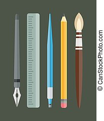 Paint and writing tools collection flat style colored stationery equipment drawing and education artist cartoon sketching vector illustration.