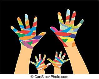 paint., bambini, mani