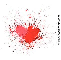 Paint Blood Blot in Heart Shape