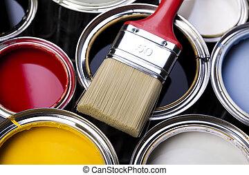 Paint brush and cans - Cans and paint and brushes on the ...