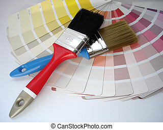 Paint brush and color cards