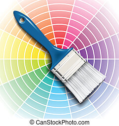 paint brush and color wheel