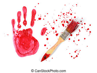 Paint brush and gouache red handprint on white canvas background in top view
