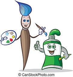 paint brush and paint tube mascot