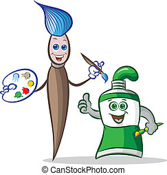 paint brush and paint tube mascot