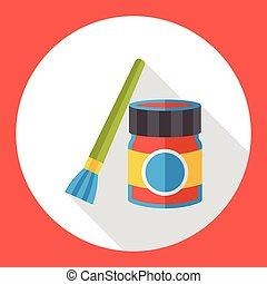 paint brush and pigment flat icon