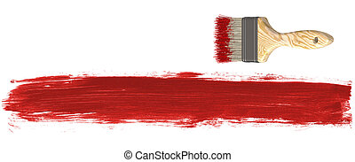 Paint Brush and Red Paint