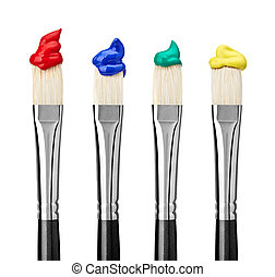 close up of paint brushes on white background